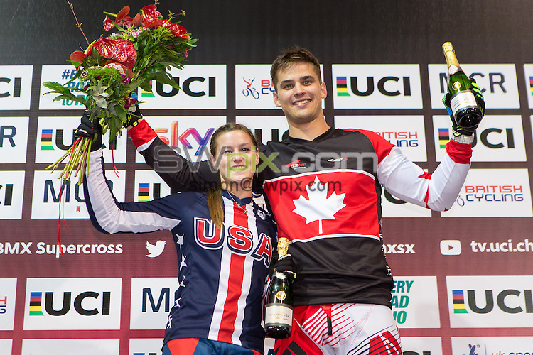 Picture by Alex Whitehead/SWpix.com - 09/04/2016 - Cycling - 2016 UCI BMX Supercross World Cup Manchester - National Cycling Centre, Manchester, England - Time Trial winners, USA's Alise Post and Canada's Tory Nyhaug.