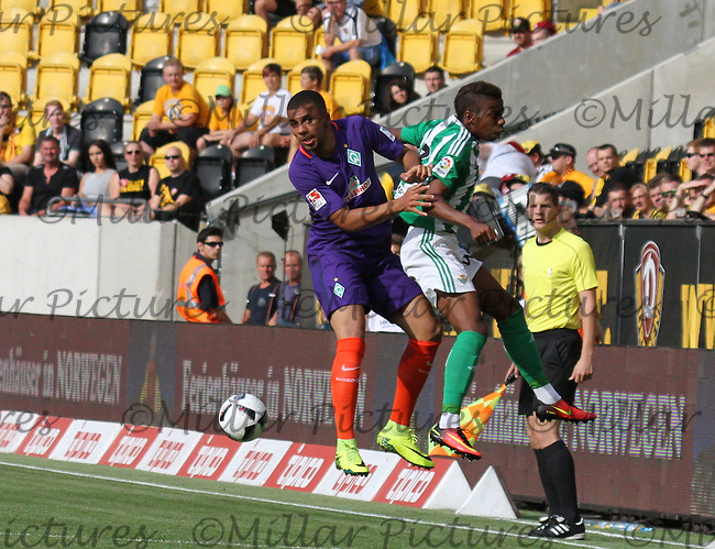 Musonda gets the better of Leon Guwara in the air in the Werder Bremen v Real Betis match in the Bundeswehr Karriere Cup Dresden 2016 played at the DDV Stadion, Dresden on 29.7.16.
