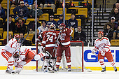 Wade Megan (BU - 18) scored twice in the second period. - The Boston University Terriers defeated the Harvard University Crimson 3-1 in the opening round of the 2012 Beanpot on Monday, February 6, 2012, at TD Garden in Boston, Massachusetts.