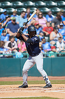 Josh Stowers (21) of the Charleston RiverDogs at bat against the Hickory Crawdads at L.P. Frans Stadium on May 13, 2019 in Hickory, North Carolina. The Crawdads defeated the RiverDogs 7-5. (Brian Westerholt/Four Seam Images)