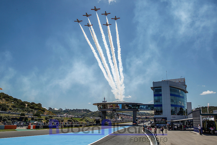 Aircraft in Motorcycle Championship GP, in Jerez, Spain. April 24, 2016
