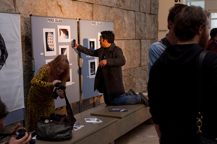 Pierce College student Jasson Bautista shoots a detail of his photo while  participating in a Student  Photography Installation during the Getty Museum's College Night in Los Angeles April 15, 2013..The students have been participating in an architectural photo class in conjunction with the Getty's Pacific Standard Time  Presents: Modern Architecture in L.A. along with three other Los Angeles area community colleges.. Photo: Gerard Burkhart...Gerard Burkhart Photo