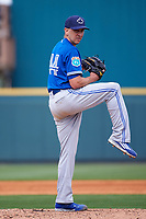 Toronto Blue Jays pitcher Pat Venditte (44) delivers a pitch during a Spring Training game against the Pittsburgh Pirates on March 3, 2016 at McKechnie Field in Bradenton, Florida.  Toronto defeated Pittsburgh 10-8.  (Mike Janes/Four Seam Images)