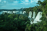 Iguazu Falls National Park in Argentina.  A UNESCO World Heritage Site.  Pictured from left to right are the San Martin, Mbigua, Bernabe Mendez, Adam and Eve, and Bossetti Falls.