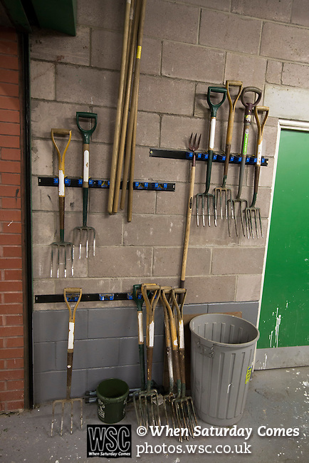 Scotland 1 Republic of Ireland 0, 14/11/2014. Celtic Park, European Championship qualifying. A set of groundsman's forks in a room inside the stadium before the European Championship qualifying match between Scotland and the Republic of Ireland at Celtic Park, Glasgow. Scotland won the match by one goal to nil, scored by Shaun Maloney 16 minutes from time. The match was watched by 55,000 at Celtic Park, the venue chosen to host the match due to Hampden Park's unavailability following the 2014 Commonwealth Games. Photo by Colin McPherson.