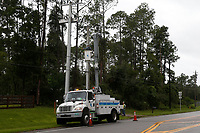 FPL crews restoring power during Hurricane Dorian in St. Augustine, Fla. on September 4, 2019