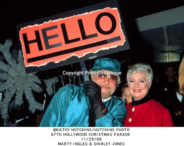©1998 KATHY HUTCHINS/HUTCHINS PHOTO.67TH HOLLYWOOD CHRISTMAS PARADE.11/29/98.MARTY INGLES & SHIRLEY JONES