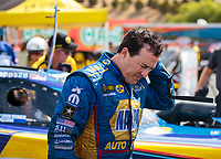 Jul 29, 2018; Sonoma, CA, USA; NHRA funny car driver Ron Capps reacts after losing in the final round of the Sonoma Nationals at Sonoma Raceway. Mandatory Credit: Mark J. Rebilas-USA TODAY Sports