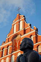 Mickiewicz Statue & Church of the Holy Mother of God -Vilnius, Lithuania.