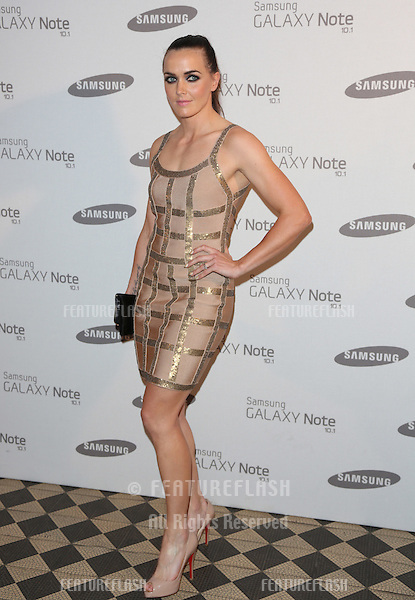 Victoria Pendleton arriving for the Samsung celebrate the launch of the Galaxy Note 10.1 held at One Mayfair.London. 15/08/2012 Picture by: Henry Harris / Featureflash