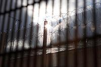 The perimeter fence. HMP Send, closed female prison. Ripley, Surrey.