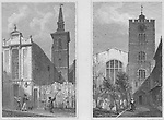 St Mildred church, Bread Street, Church of St Bartholomew the Great, West Smithfield, engraving 'Metropolitan Improvements, or London in the Nineteenth Century' London, England, UK 1828 , drawn by Thomas H Shepherd