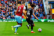 10th September 2017, Turf Moor, Burnley, England; EPL Premier League football, Burnley versus Crystal Palace; Lee Chung-yong of Crystal Palace shields the ball from Matthew Lowton of Burnley