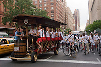 New York, NY - May 15th - Amstel Light Beer Bike, or PedalPub, makes its way up Amsterdam Avenue to promote Amstel Light Beer during a Beer Festival.