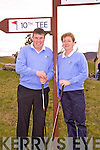 Skellig Bay Golf Club Captains Dan Fitzgerald and Sadie Curran at their drive in last Saturday.  Even with her arm in a cast Sadie was able to get her drive off to make it official, Dan didn't let himself down either.