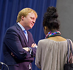 April 19, 2012 - Hempstead, New York, U.S. - Lord STEWART WOOD of Anfield is interviewed by reporter after he is a panelist at symposium 'Change in the White House?' at Hofstra University, Long Island. Lord Stewart Wood, a British academic and Labour life peer in the House of Lords, served as Senior Policy Advisor to Prime Minister Brown and campaign manager for the successful campaign of Ed Milliband to Labour Party Leader.