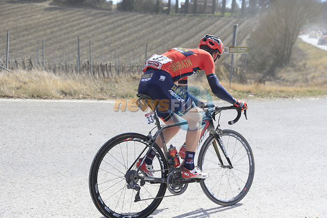 Andrea Garosio (ITA) Bahrain-Merida at the end of sector 3 Radi during Strade Bianche 2019 running 184km from Siena to Siena, held over the white gravel roads of Tuscany, Italy. 9th March 2019.<br /> Picture: Eoin Clarke | Cyclefile<br /> <br /> <br /> All photos usage must carry mandatory copyright credit (© Cyclefile | Eoin Clarke)