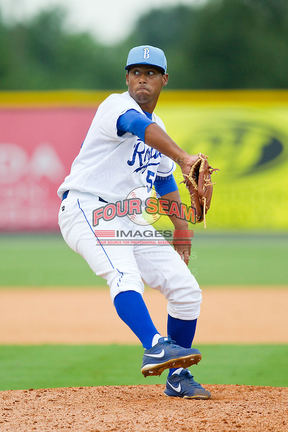 Burlington Royals relief pitcher Javier Reynoso (55) in action against the Elizabethton Twins at Burlington Athletic Park on August 11, 2013 in Burlington, North Carolina.  The Twins defeated the Royals 12-5.  (Brian Westerholt/Four Seam Images)