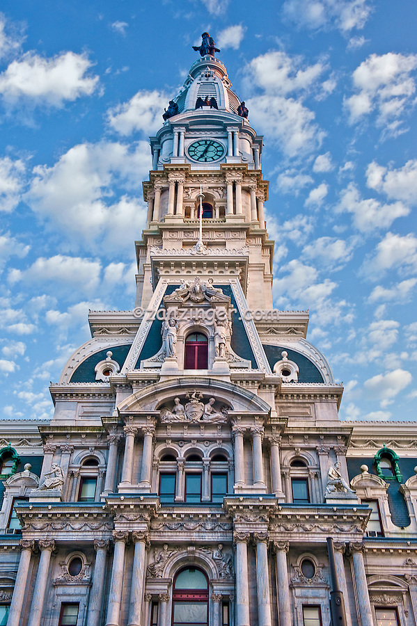 William Penn, Philadelphia City Hall, Clock Tower, impressive, tall/huge, building, Downtown, Phila. PA,