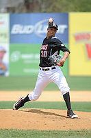 New Britain Rock Cats pitcher Adrian Salcedo (30) during game against the Trenton Thunder at New Britain Stadium on May 7 2014 in New Britain, CT.  Trenton defeated New Britain 6-4.  (Tomasso DeRosa/Four Seam Images)