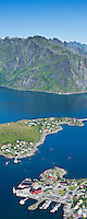 Panoramic view from Reinebringen down to Reine, Lofoten islands, Norway