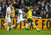 23rd November 2019; Liberty Stadium, Swansea, Glamorgan, Wales; English Football League Championship, Swansea City versus Millwall; Connor Mahoney of Millwall controls the ball despite the pressure from Kyle Naughton of Swansea City - Strictly Editorial Use Only. No use with unauthorized audio, video, data, fixture lists, club/league logos or 'live' services. Online in-match use limited to 120 images, no video emulation. No use in betting, games or single club/league/player publications