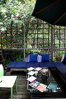 outdoor blue sofa