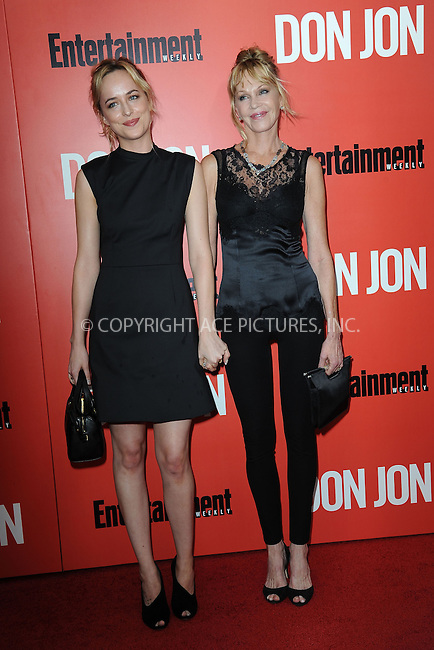 WWW.ACEPIXS.COM<br /> September 12, 2013...New York City<br /> <br /> Dakota Johnson and Melanie Griffith attending 'Don Jon' New York Premiere at SVA Theater on September 12, 2013 in New York City.<br /> <br /> Please byline: Kristin Callahan/Ace Pictures<br /> <br /> Ace Pictures, Inc: ..tel: (212) 243 8787 or (646) 769 0430..e-mail: info@acepixs.com..web: http://www.acepixs.com
