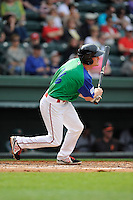 Right fielder Derek Miller (16) of the Greenville Drive bats in a game against the Augusta GreenJackets on Sunday, April 12, 2015, at Fluor Field at the West End in Greenville, South Carolina. Augusta won, 2-1. (Tom Priddy/Four Seam Images)