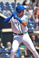 Yonathan Daza (2) of the Hartford Yard Goats blows a bubble while batting during a game against the Binghamton Rumble Ponies at Dunkin Donuts Park on May 9, 2018 in Hartford, Connecticut. (Gregory Vasil/Four Seam Images)