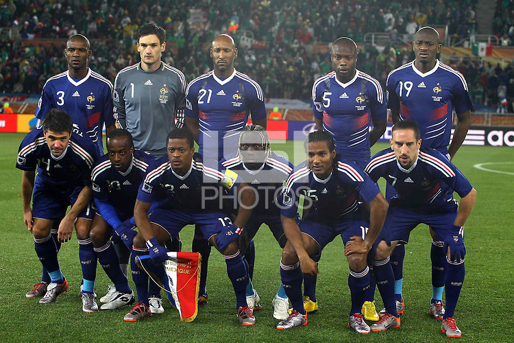 The France team line up line up before the game against Mexico