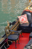 Seats in Gondola by water, Venice, Italy