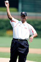 August 8, 2009:  Hall of Fame member Ernie Banks throws out the first pitch before the Under Armour All-America game at Wrigley Field in Chicago, IL.  Photo By Mike Janes/Four Seam Images