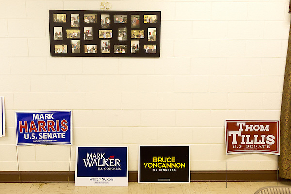April 6, 2014. Durham, North Carolina.<br />  Mark Harris and Thom Tillis are 2 of the 8 candidates for the US Senate seat that Republicans hope to take from Democrat Kay Hagan.<br />  As the the primary scheduled for May 6th grows near, several of the the eight Republican candidates running for the US Senate seat of incumbent Democrat Kay Hagan have increased their public visibility, appearing at events such as the Durham County Lincoln Douglas Lunch, where each candidate was given a few minutes to address the gathered Republican friendly crowd.