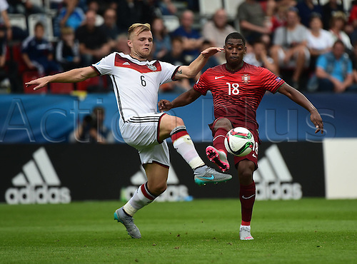 27.06.2015. Andruv Stadium, Olomouc, Czech Republic. U21 European championships, semi-final. Portugal versus Germany.  Johannes Geis (Germany) challenges Ivan Cavaleiro (Portugal)
