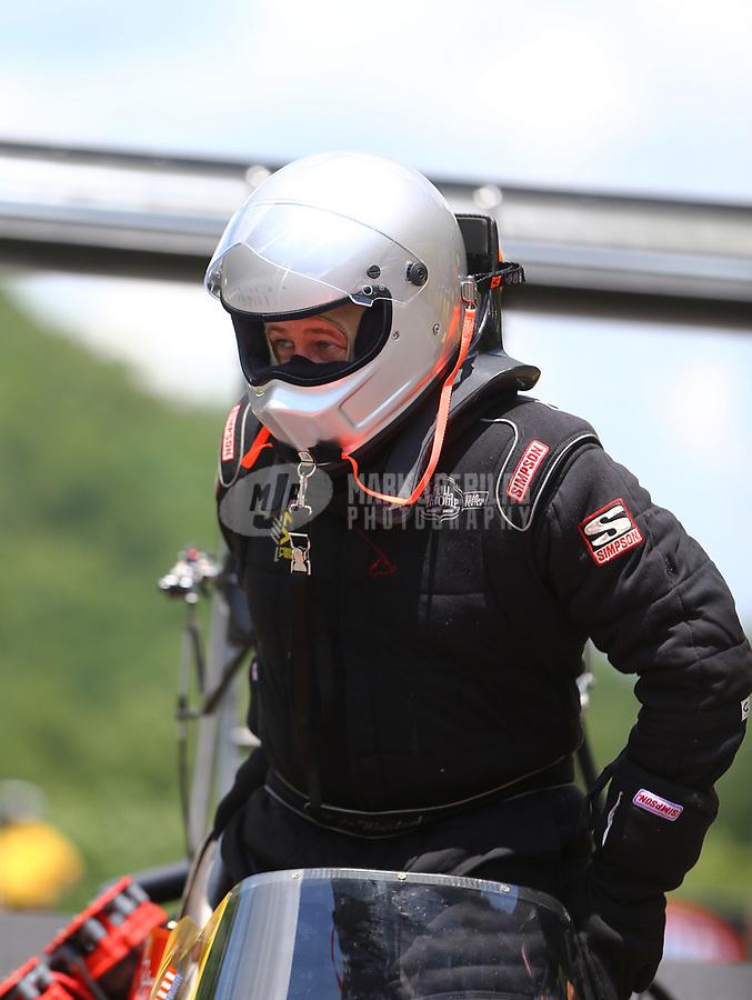 Jun 17, 2017; Bristol, TN, USA; NHRA top fuel driver Kyle Wurtzel during qualifying for the Thunder Valley Nationals at Bristol Dragway. Mandatory Credit: Mark J. Rebilas-USA TODAY Sports