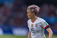 PARIS,  - JUNE 28: Megan Rapinoe #15 dribbles during a game between France and USWNT at Parc des Princes on June 28, 2019 in Paris, France.