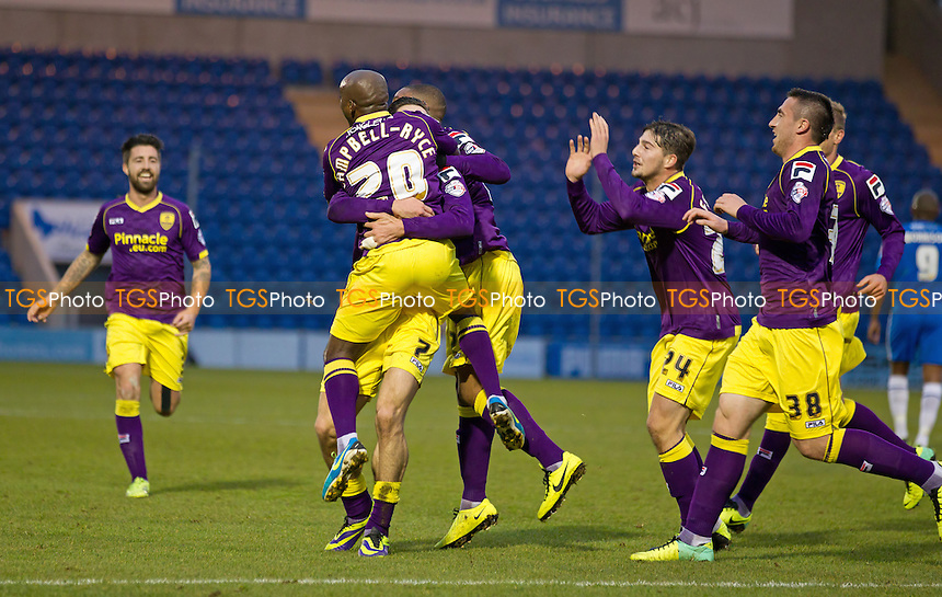 Goalscorer Jack Grealish of Notts County is swamped by his team mates after putting his side ahead - Colchester United vs Notts County - Sky Bet League One Football at the Weston Homes Community Stadium, Colchester, Essex - 14/12/13 - MANDATORY CREDIT: Ray Lawrence/TGSPHOTO - Self billing applies where appropriate - 0845 094 6026 - contact@tgsphoto.co.uk - NO UNPAID USE