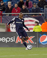 New England Revolution defender Didier Domi (3) passes the ball. In a Major League Soccer (MLS) match, Real Salt Lake defeated the New England Revolution, 2-0, at Gillette Stadium on April 9, 2011.