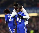 Chelsea's Eden Hazard hugs Belgian teamate Everton's Romelu Lukaku<br /> <br /> Barclays Premier League- Chelsea vs Everton  - Stamford Bridge - England - 11th February 2015 - Picture David Klein/Sportimage