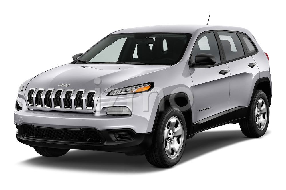 2014 JEEP Cherokee Longitude 4 Door SUV Angular Front stock photos of front three quarter view