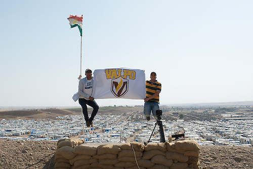 Pictured here is incoming student (MSDM) Sarhang Sherwany, left, and current MSDM student and Fulbright Scholar, Saddam Al-Zubaidi, right, in front of the Kawergosk Refugee Camp in Erbil, Kurdish Region, Iraq, where we've been filming a documentary.