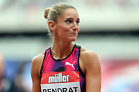 Stephanie Bendrat of Austria competes in the womenís 100 metres hurdles during the Muller Anniversary Games at The London Stadium on 9th July 2017