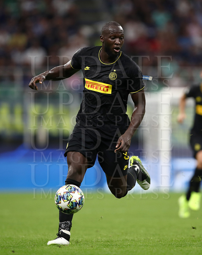 Football Soccer: UEFA Champions League -Group Stage- Group F Internazionale Milano vs  SK Slavia Praha, Giuseppe Meazza stadium, September 17, 2019.<br /> Inter's Romelu Lukaku in action during the Uefa Champions League football match between Internazionale Milano and Slavia Praha at Giuseppe Meazza (San Siro) stadium, September 17, 2019.<br /> UPDATE IMAGES PRESS/Isabella Bonotto