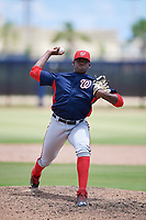 GCL Nationals relief pitcher Rodney Theophile (38) delivers a pitch during a game against the GCL Astros on August 6, 2018 at FITTEAM Ballpark of the Palm Beaches in West Palm Beach, Florida.  GCL Astros defeated GCL Nationals 3-0.  (Mike Janes/Four Seam Images)