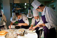 Chefs putting the final touches to dishes in the kitchen of restaurant Mirazur, Menton, France, 18 September 2013