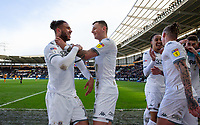 Leeds United's Tyler Roberts celebrates scoring his side's fourth goal with Ben White<br /> <br /> Photographer Alex Dodd/CameraSport<br /> <br /> The EFL Sky Bet Championship - Hull City v Leeds United - Saturday 29th February 2020 - KCOM Stadium - Hull<br /> <br /> World Copyright © 2020 CameraSport. All rights reserved. 43 Linden Ave. Countesthorpe. Leicester. England. LE8 5PG - Tel: +44 (0) 116 277 4147 - admin@camerasport.com - www.camerasport.com