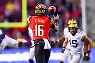 College Park, MD - NOV 11, 2017: Maryland Terrapins quarterback Ryan Brand (16) catches a pass downfield from Maryland Terrapins wide receiver D.J. Moore (1) during game between Maryland and Michigan at Capital One Field at Maryland Stadium in College Park, MD. (Photo by Phil Peters/Media Images International)