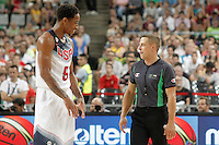 USA's DeMar Derozan jokes with the referee during 2014 FIBA Basketball World Cup Round of 16 match.September 6,2014.(ALTERPHOTOS/Acero)