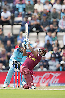 Nicholas Pooran (West Indies) plays a lofted straight drive for four off Adil Rashid (England) during England vs West Indies, ICC World Cup Cricket at the Hampshire Bowl on 14th June 2019